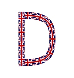 Letter D made from United Kingdom flags vector image