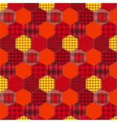 Seamless pattern patchwork orange fabrics hexagon vector image vector image