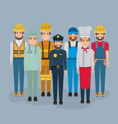 color background with group of men of different vector image