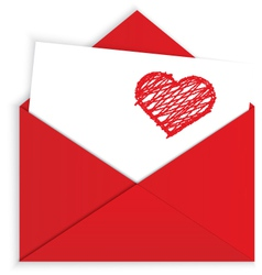 Heart crayon on red envelope vector image vector image