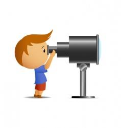 little boy looking in telescope vector image vector image