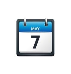 May 7 Calendar icon flat vector image vector image