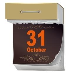 October 31 Halloween Black Sheet tear off vector image