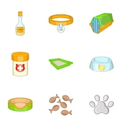 Pet veterinary clinic icons set cartoon style vector image
