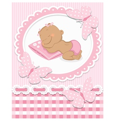 Sleeping African baby girl vector image vector image