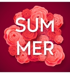 Summer Pink Roses on Dark Background vector image vector image