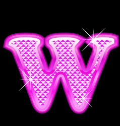 W letter pink bling girly vector