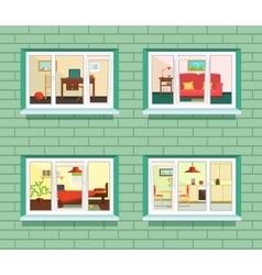 window view of flat design vector image vector image