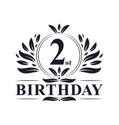 2nd birthday logo 2 years birthday celebration vector