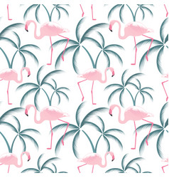 A pink flamingo stands near a palm tree seamless vector