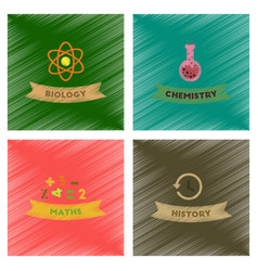 Assembly flat shading style icons school history vector