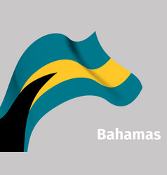 Background with bahamas wavy flag vector