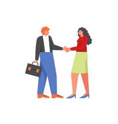 bank manager and customer handshaking flat vector image