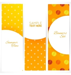 Banners set with polka dots texture vector image