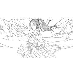 beautiful samurai girl vector image