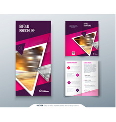 Bifold brochure design pink purple template for vector