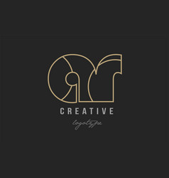 Black and yellow gold alphabet letter ar a r logo vector