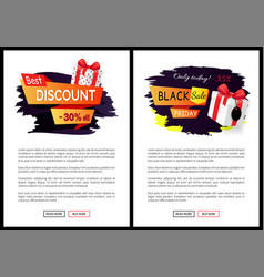 black friday sale tags promo labels web vector image