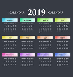 bright modern calendar template for 2019 years vector image