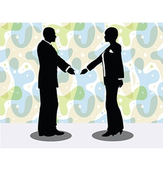 Business man and woman silhouette in handshake vector
