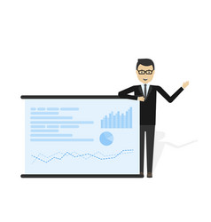 businessman showing market share graph vector image