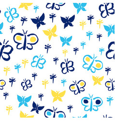 Butterfly silhouettes yellow and blue vector