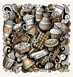 cartoon doodles coffe shop vector image