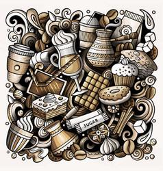 Cartoon doodles coffee vector