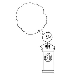 cartoon evil man or politician speaking or vector image