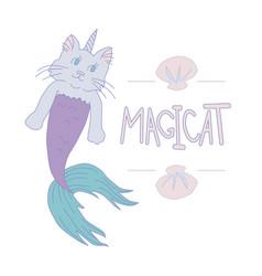 caticorn mermaid vector image
