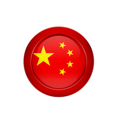 chinese flag on the round button vector image