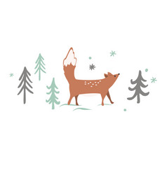 christmas card background with winter forest vector image