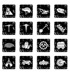 Coal mine icons set grunge vector