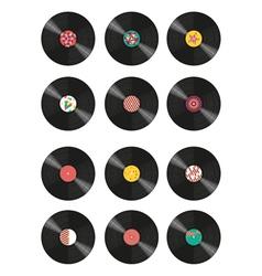 Collection vinyl records vector