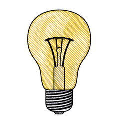 colored pencil silhouette of light bulb icon vector image