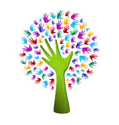 colorful tree hand concept for nature team help vector image