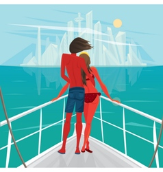 Couple is sailing on a boat to the big city vector