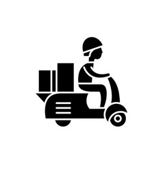 courier on a motor scooter black icon sign vector image