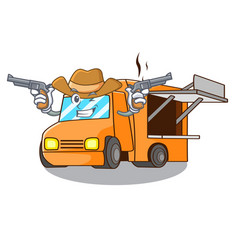 Cowboy rendering cartoon of food truck shape vector
