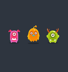 cute funny colorful monsters funny aliens game vector image