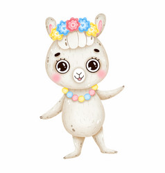 Cute mexican llama with big eyes and flowers vector
