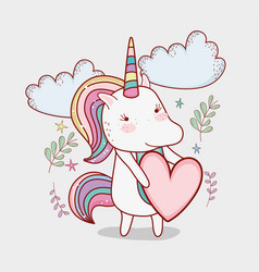Cute unicorn with heart and clouds with plants vector
