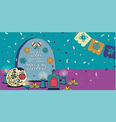 day dead mexican sugar skull spanish banner vector image