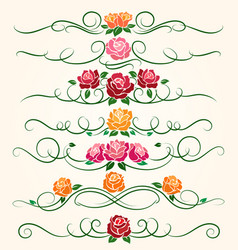 Decorative flourish rose flower dividers vector