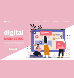 digital marketing web page template for business vector image