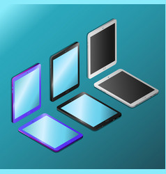 Digital tablets with empty screens in isometry vector