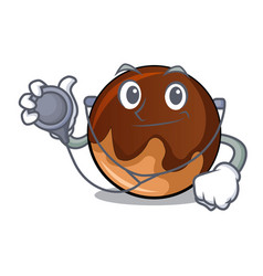 doctor chocolate donut character cartoon vector image