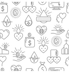 Donation money and blood seamless pattern vector