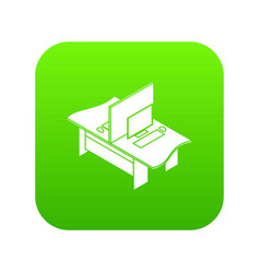 double office table icon green vector image