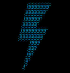 electric strike collage icon of halftone circles vector image